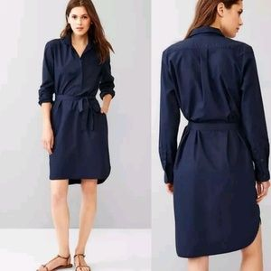 NWT Gap Modest Button up front popover navy dress
